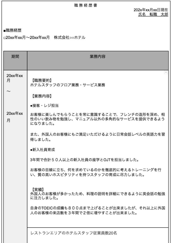 ホテル 宿泊業 職務経歴書