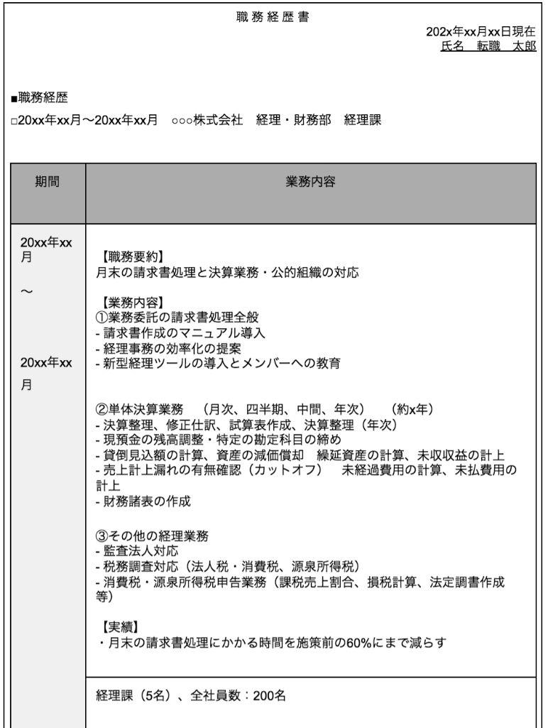 経理 職務経歴書