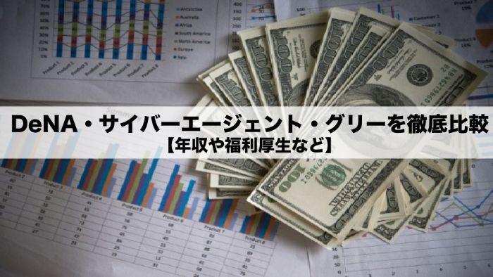 DeNA・サイバーエージェント・グリーを徹底比較【年収や福利厚生など】